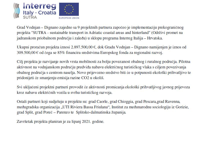 Grad Vodnjan-Dignano započeo implementaciju prekograničnog projekta