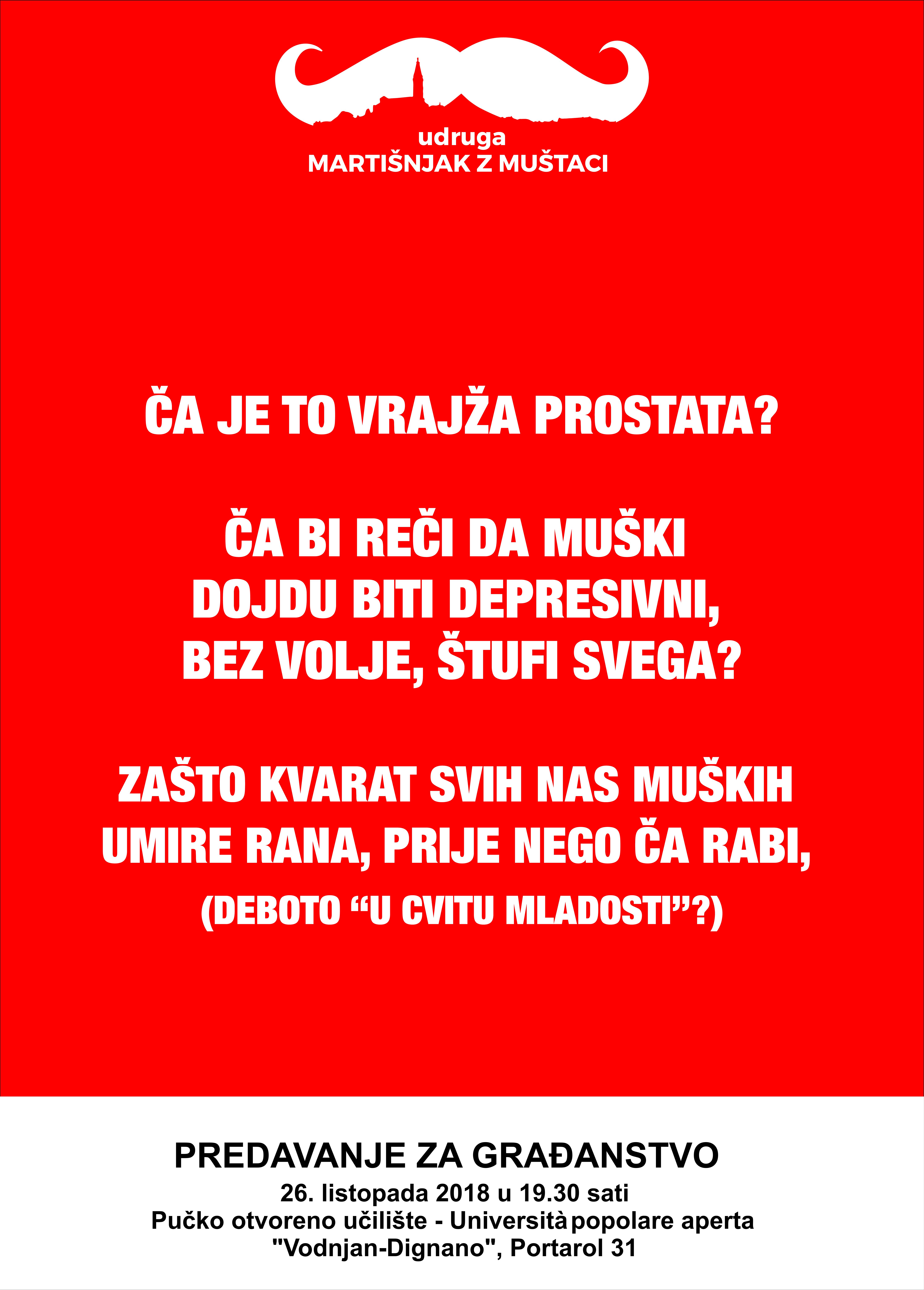 Plakat predavanja u Pučkom učilištu Vodnjan Ča je to vražja prostata